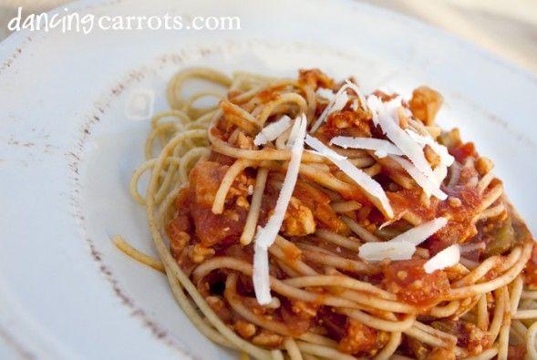 Turkey Spaghetti recipe with garlic, turkey, stewed tomatoes, italian ...