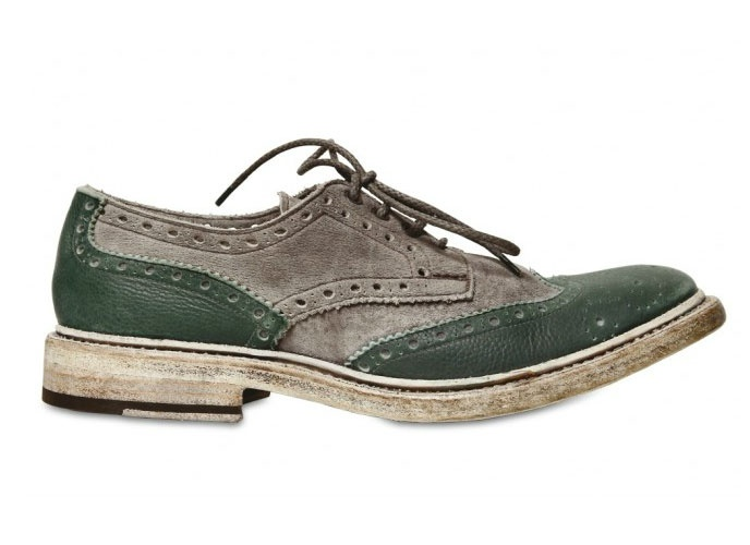 Paul Van Haagen Washed Suede & Leather Lace-Up Shoes