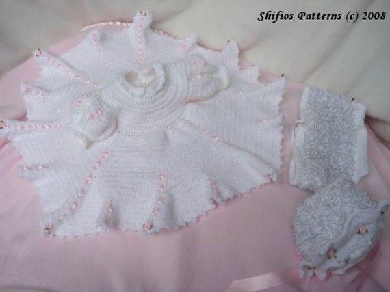 Baby Crochet Dress, Bonnet, Lacey Panties Crochet Pattern ...