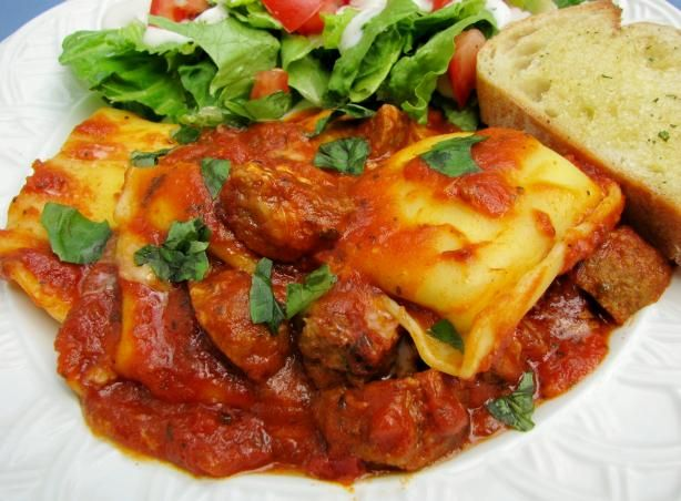 Ravioli and Meatball Bake from Food.com: This is an easy dish to make. It is a great crowd pleaser and a good dish to bring to a potluck where you have to bring a dish to pass.