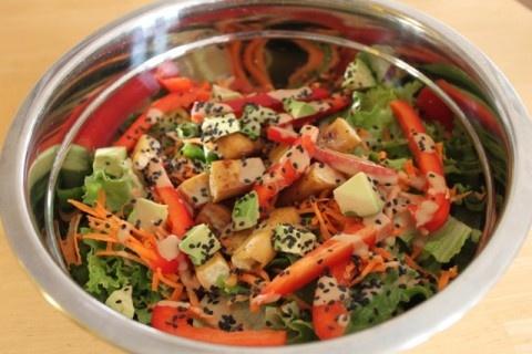 Avocado tofu salad with creamy sesame dressing | Not Just Granola