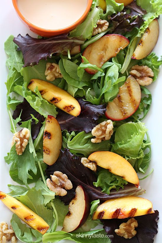 Grilled Stone Fruit Salad with Honey Goat Cheese Dressing, Simple ...