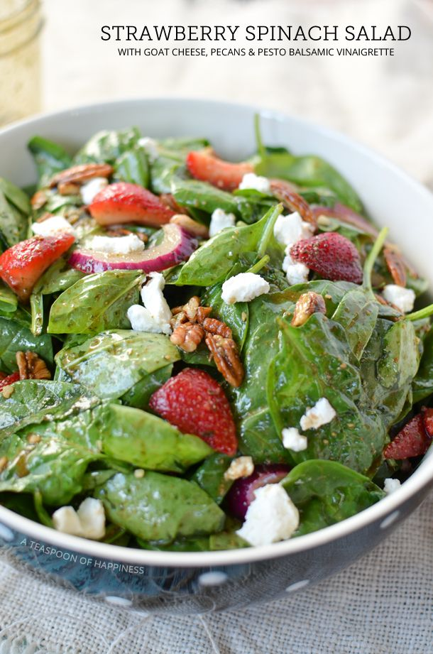 Strawberry Spinach Salad with Goat Cheese, Pecans and Pesto Balsamic ...