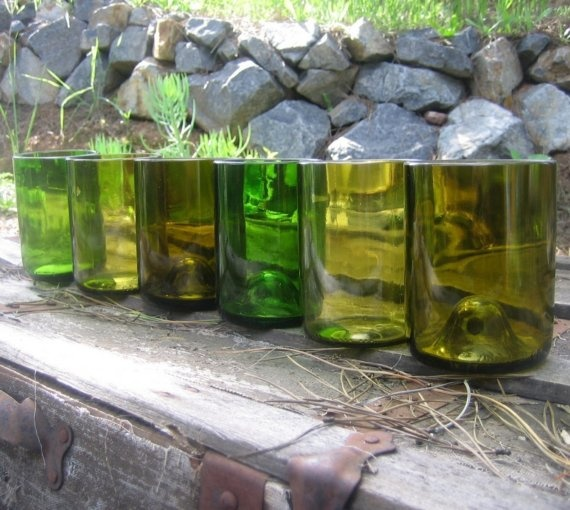 Set of SIX TUMBLERS made from Recycled Wine Bottles by bottlehood on Etsy