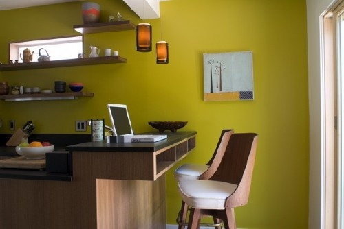 Glam mustard #kitchen wall  Kitchy Kitchens  Pinterest