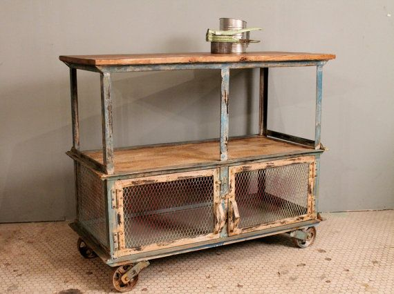 Distressed Cream Green Painted Iron Wood Storage Console Kitchen
