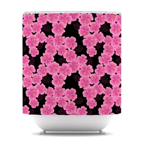 Julia Grifol Pink On Black Shower Curtain