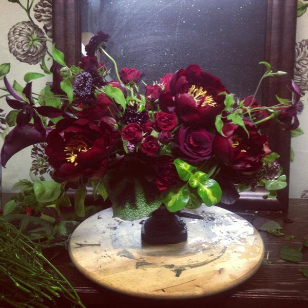 Burgundy flower centerpiece creative entertaining