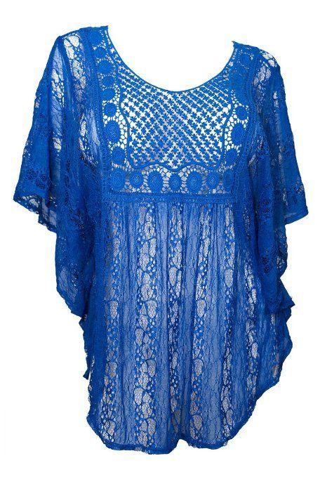 Amazon.com: eVogues Plus Size Crochet Poncho Top: Clothing