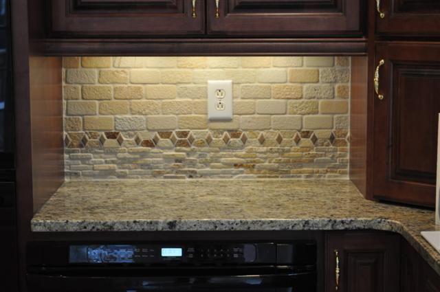 tumbled stone backsplash and new venetian gold granite our