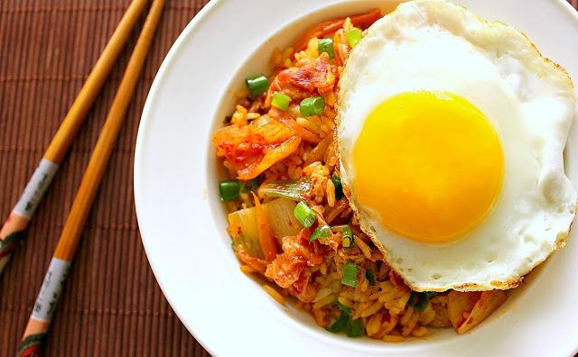 KIMCHI FRIED RICE WITH BACON AND EGG - Click through for the recipe.