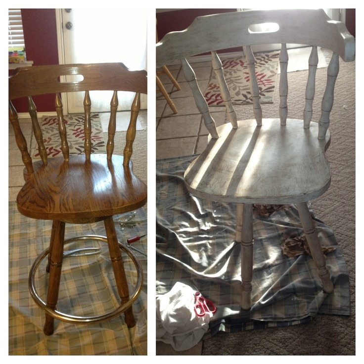 Annie Sloan Chalk Paint and wax can make something old to be beautiful again. It can give that Antique/Distressed look to any piece of furniture . Very easy to paint with. Left is before and Right is after. Luv this Paint!