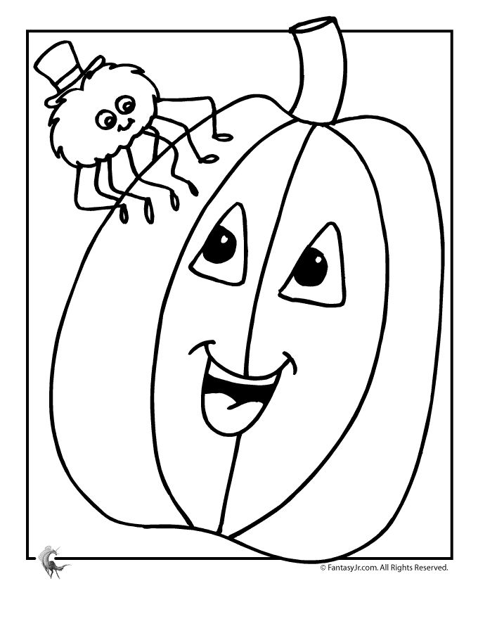 Pumpkin And Spider Coloring Page