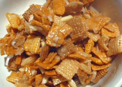 sweet chex mix, to make gluten free use honey nut chex instead of ...