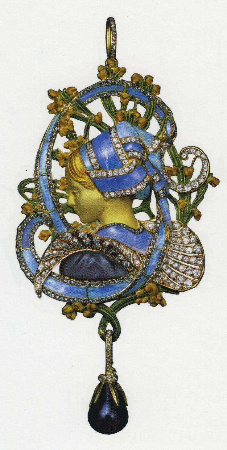 """Art Nouveau ~ """"La Bretonne"""" pendant  Vever, c. 1899-1900  18K gold, amethyst, black opal, diamonds"""