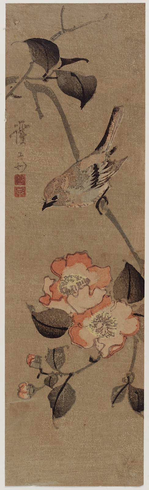 Keisai Eisen (Japanese: 1790 – 1848) -Sparrow and Camellia