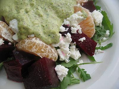 Roasted Beet Salad with Pistachio Pesto and Goat Cheese Served over ...