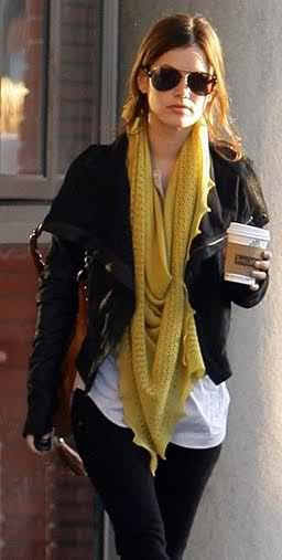 yellow scarf, black leather jacket