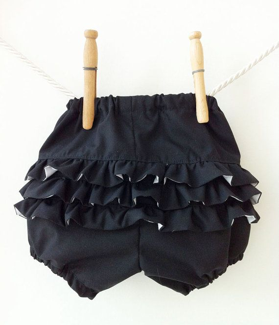 Black and White Ruffle Bloomers - New Sizing