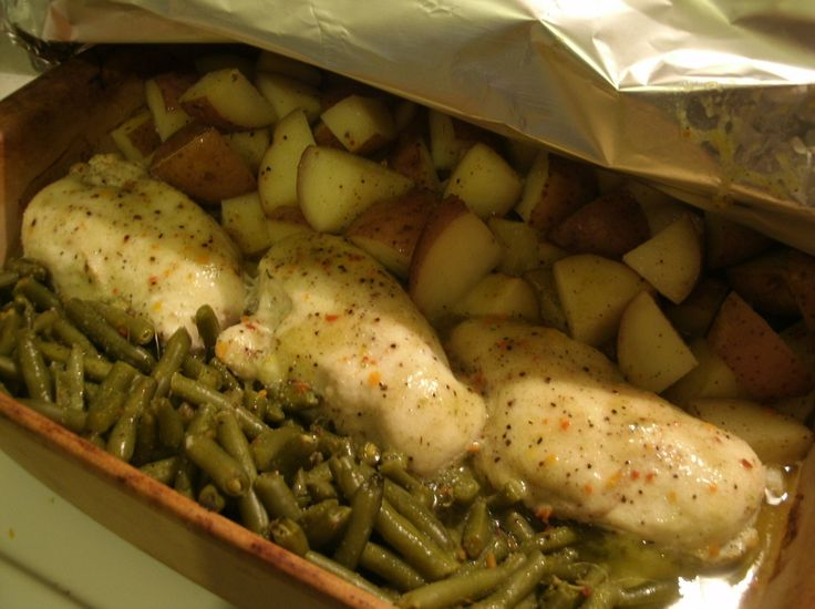One dish chicken green beans and potatoes. Pretty good for an easy ...