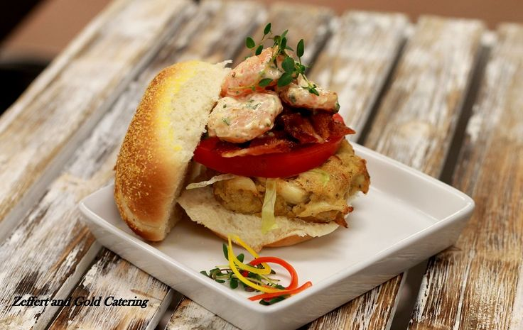Baltimore Club Slider with a crab cake topped with bacon and shrimp ...