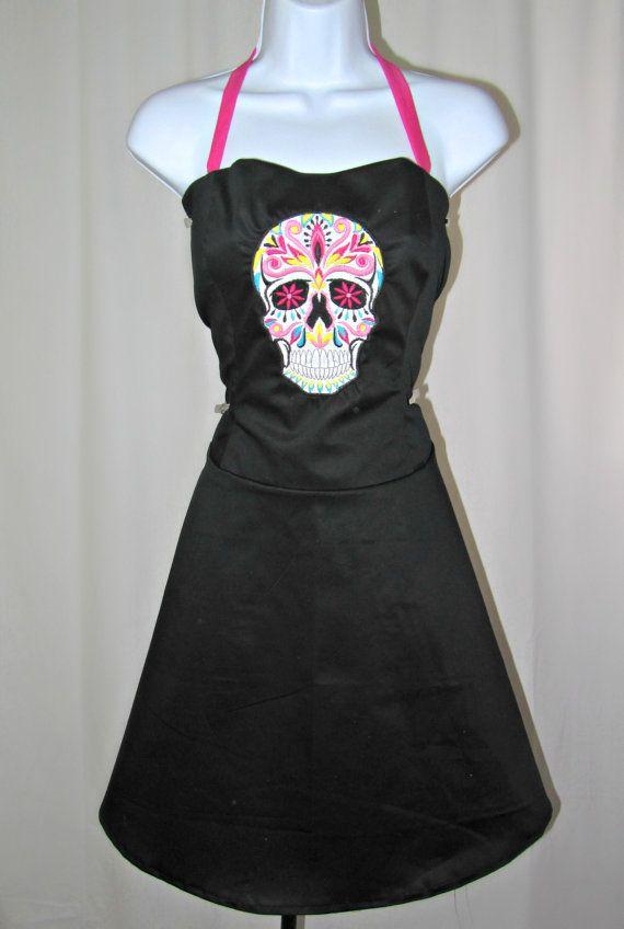 Dia de los muertos dress day of the dead sugar skull for Sugar skull wedding dress