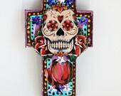 Day of the Dead Skull on wood plaque / RAINBOW sugar skull/ Mexico Dia de los Muertos / ooak wall art home decor. $22.00, via Etsy.