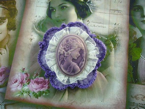Pretty Victorian Young Lady Lilac Cameo Brooch by CraftsbySigita,