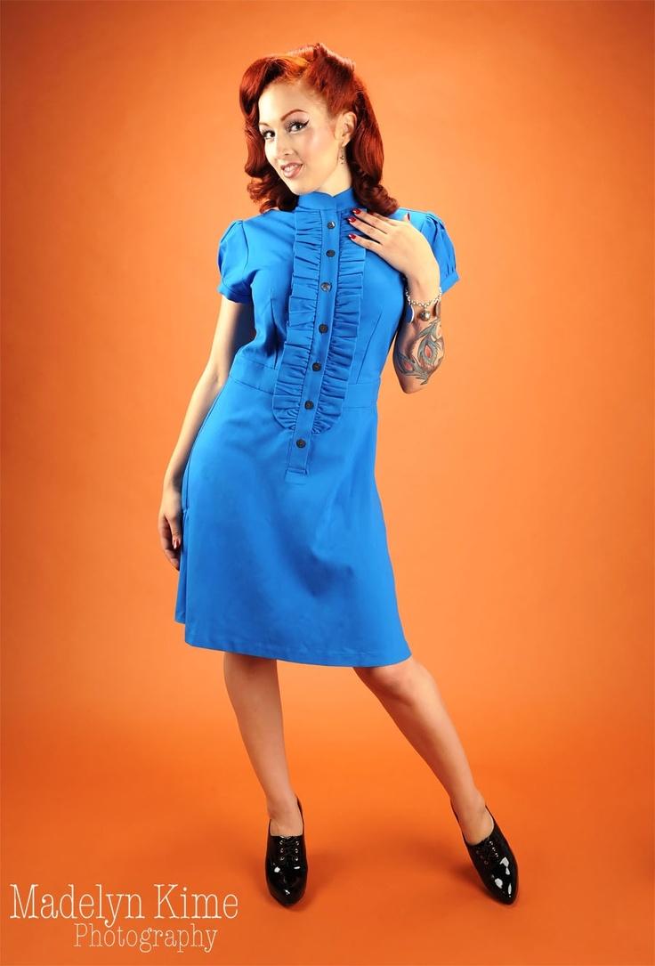 Tuxedo Shirt Dress in Peacock Blue | Desiree's Closet | Pinterest Tuxedo Shirt