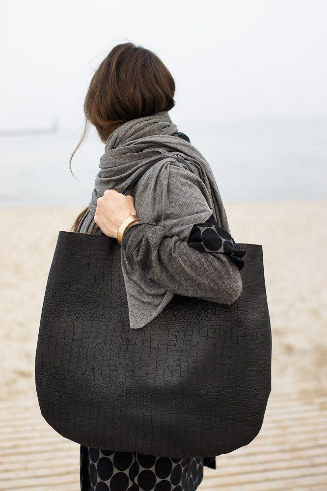 Black Oversized Leather Hobo Bag, Tote bag in black leather, croc like. $130,00, via Etsy.