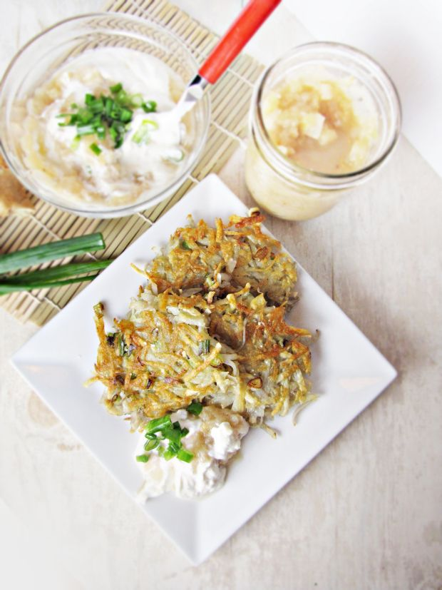 Potato-Scallion Latkes and Apple-Ginger Chutney