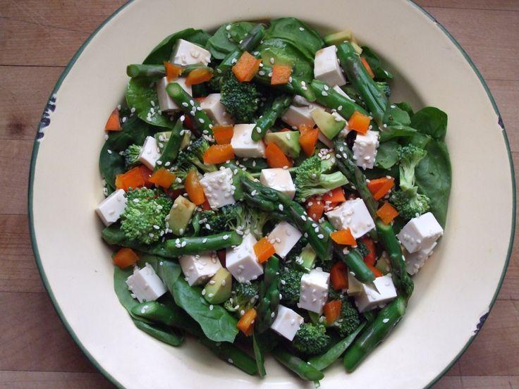 spinach, broccoli, carrot, orange pepper, asparagus, avocado, tofu ...