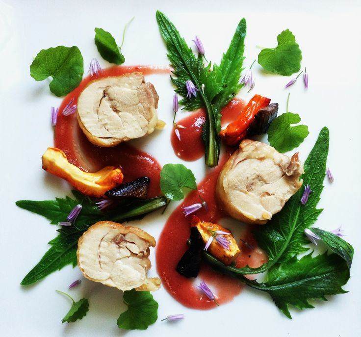 ... chicken thighs with rhubarb sauce, wild greens, and chicken mushrooms