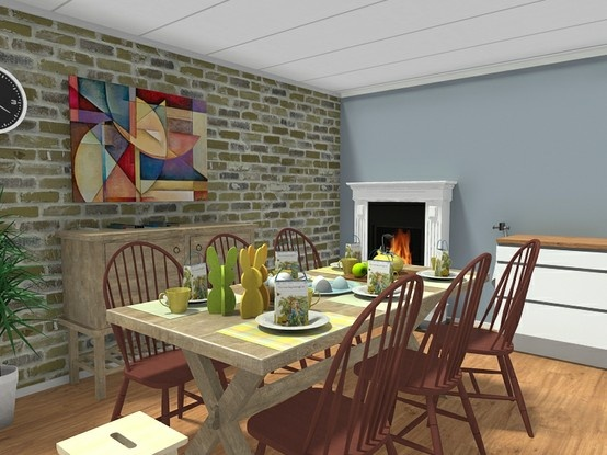 dining room with casual style furniture decor from crate and barrel