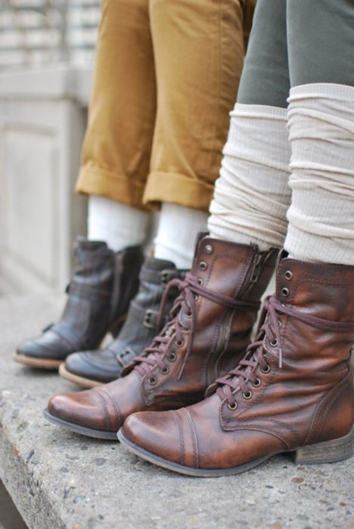 Layered Socks and Leather Boots