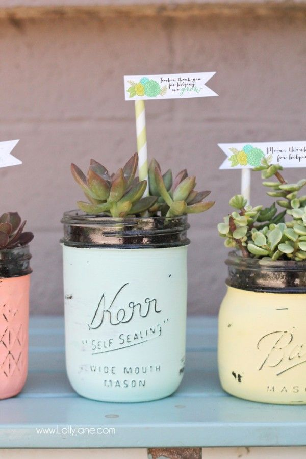 DIY mason jar succulent pots with free printable gift tags for Mom on Mother's Day