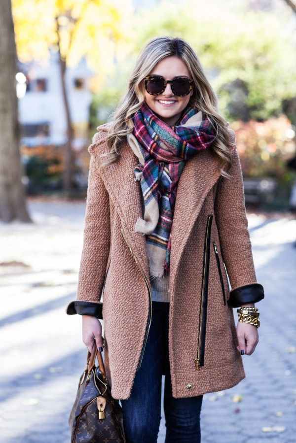 plaid scarf | camel coat