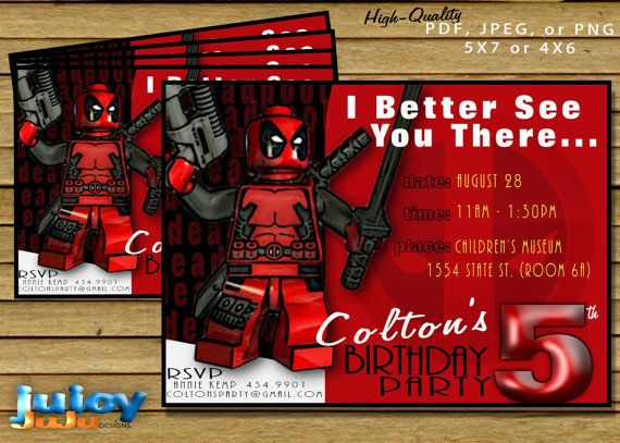 Lego Deadpool Birthday Party Invitation Marvel by juicyJuJu, $5.99
