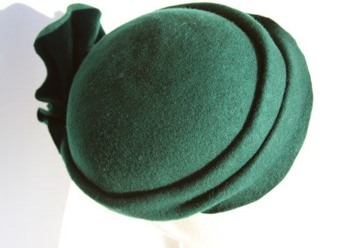 hunter green women hat cocktail headpiece beret luxe millinery OOAK ...