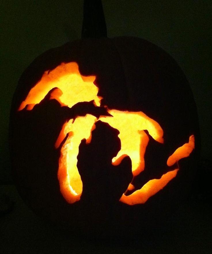 Michigan carved pumpkin mitten state pinterest