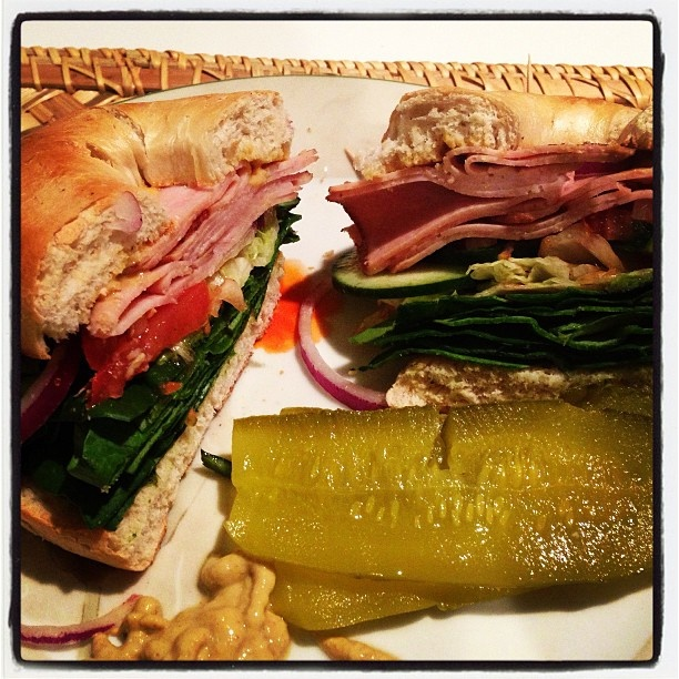 Kosher turkey burger bagel with a side of Vlasic pickles. Now we're ...
