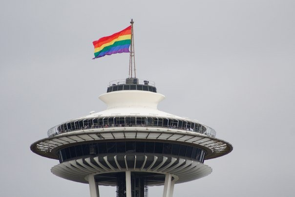 gay pride flag over the space needle seattle emerald city pinte. Black Bedroom Furniture Sets. Home Design Ideas