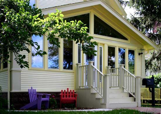 Enclosed front porch exterior design curb appeal for Enclosed front porch design
