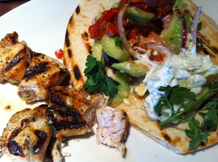 : Chicken Kebab on Pita, Cucumber, Red Onion, Parsley, and Yogurt ...