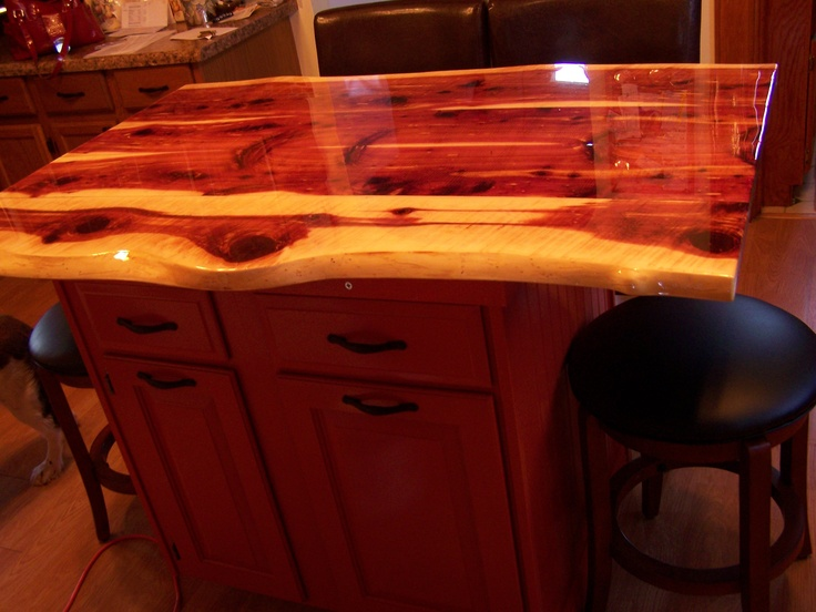 Eastern red cedar live edge kitchen island with reclaimed for Cedar kitchen cabinets
