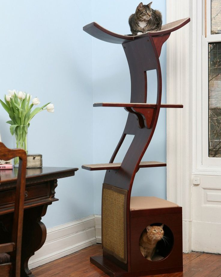 Lotus cat tower from the refined feline for Bookshelf cat tower