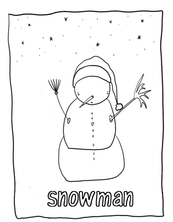 Snowman free winter coloring pages printables pinterest