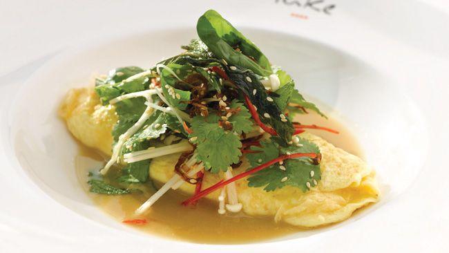 crab omelette, enoki mushroom salad and miso broth by luke mangan
