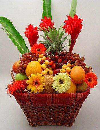 Beautiful Fruit And Flower Basket Fruit Basket Bouquet
