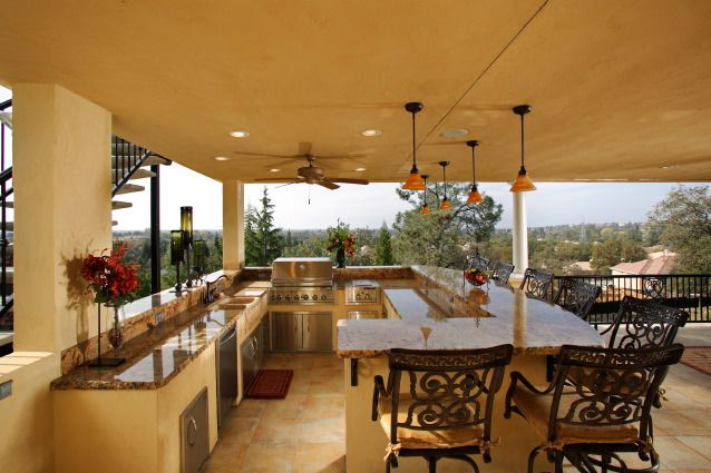 Love outdoor kitchens home furniture pinterest for Outdoor kitchen and bar ideas